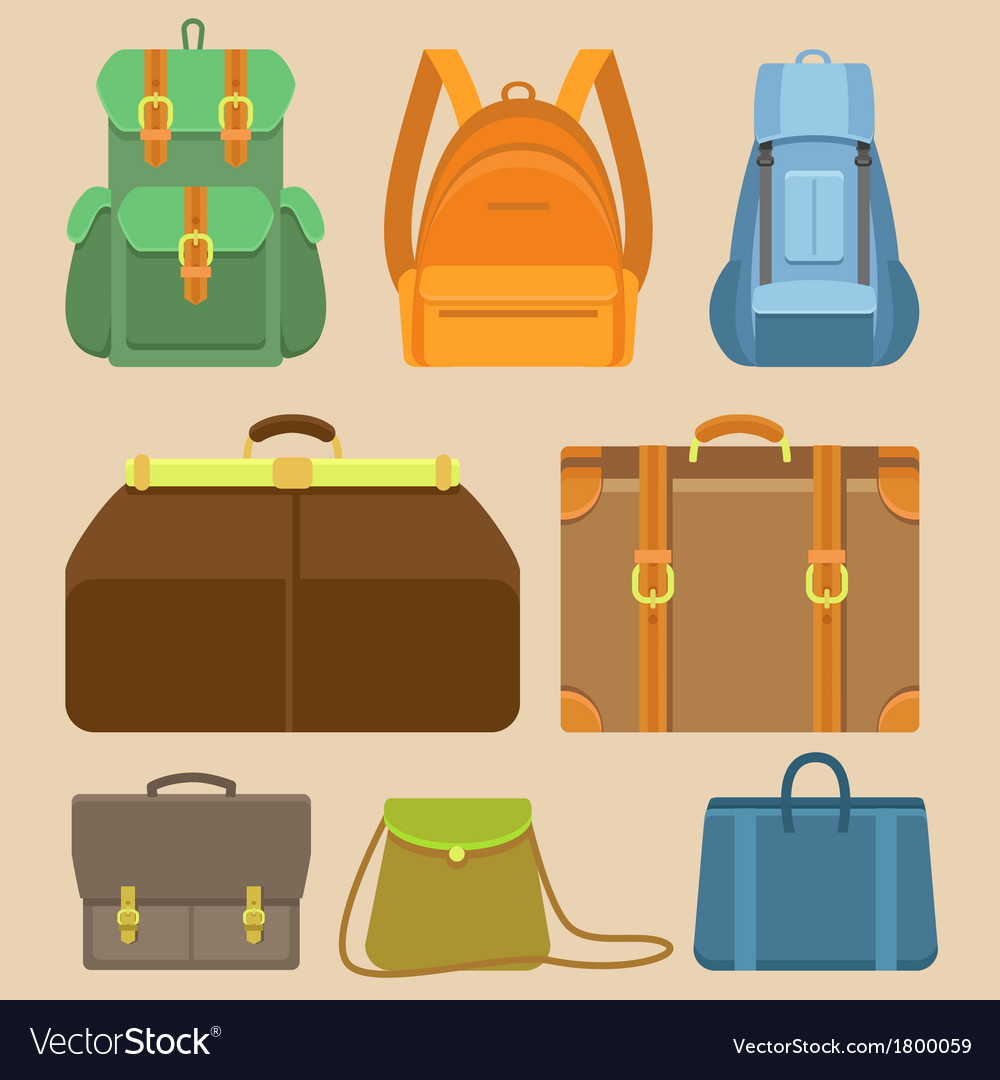 Set of flat icons  bags and backpacks vector
