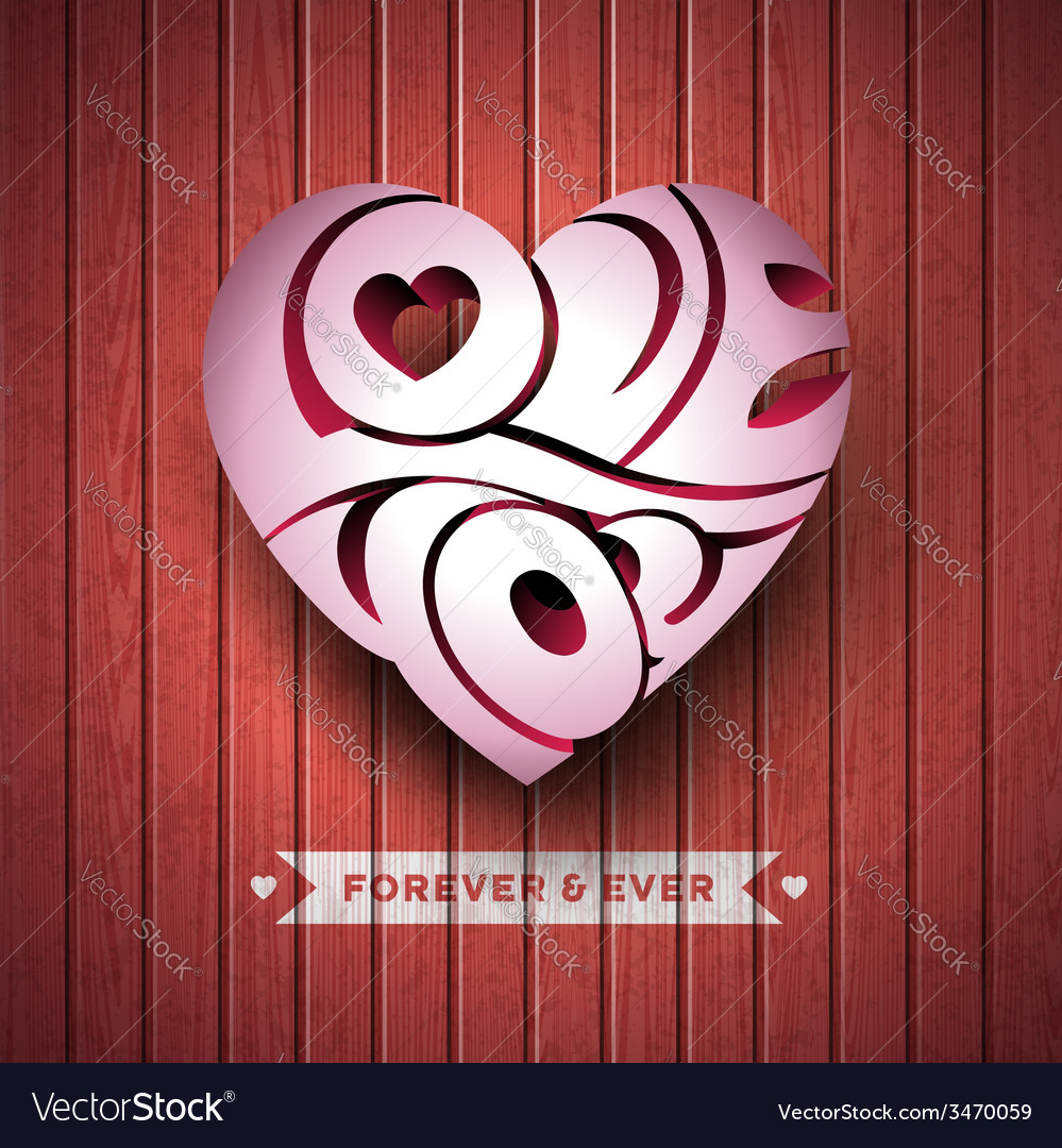 Valentines day with 3d love you vector