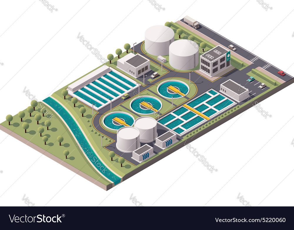 Isometric water treatment plant vector