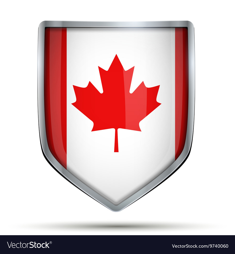 Shield with flag canada vector