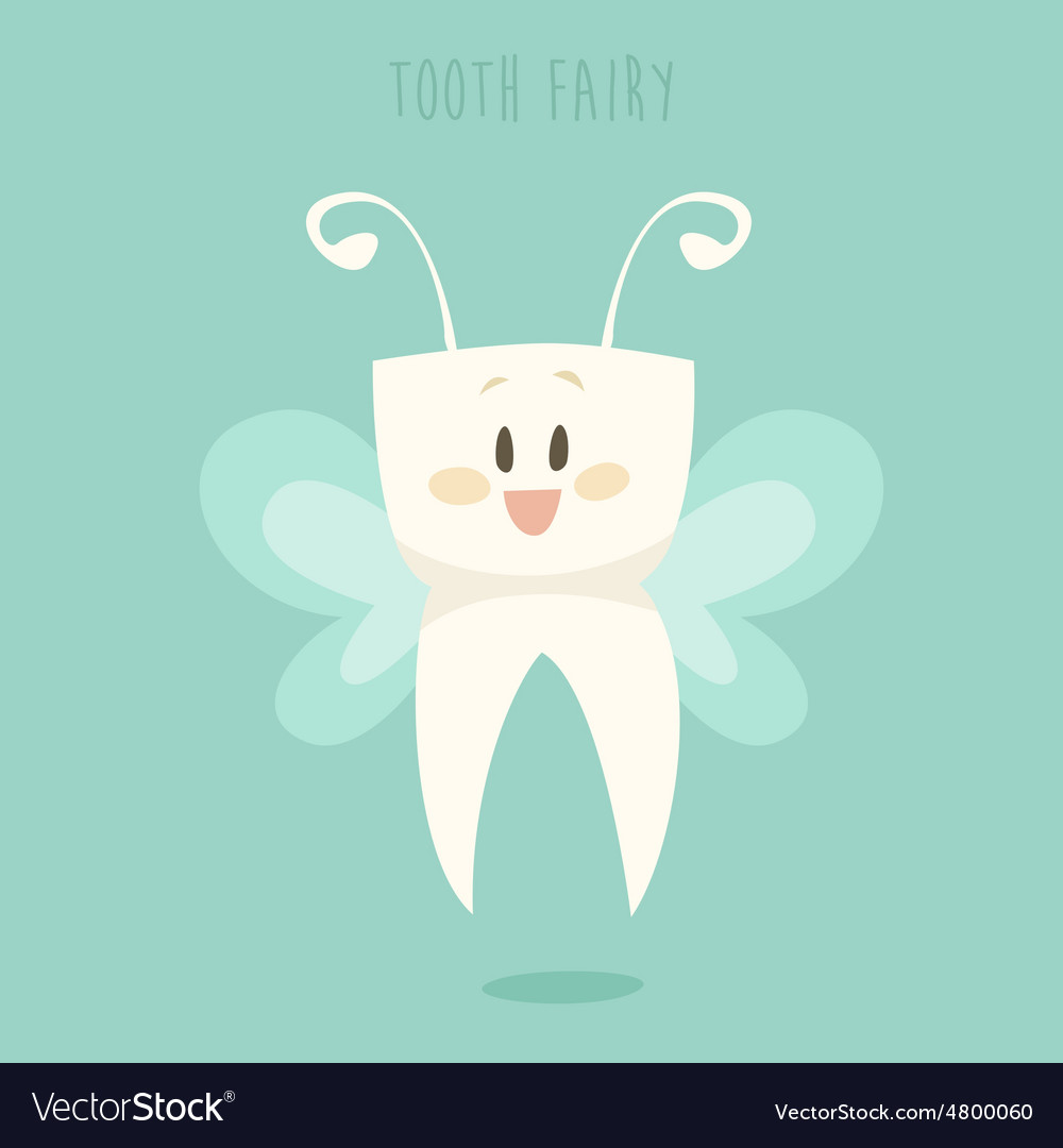 Tooth fairy healthy teeth flat design vector
