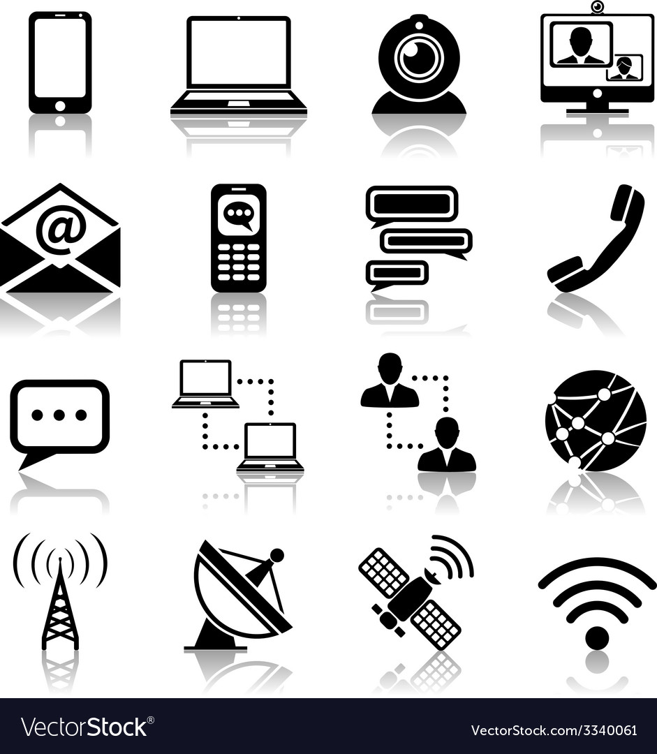 Communication icon black set vector