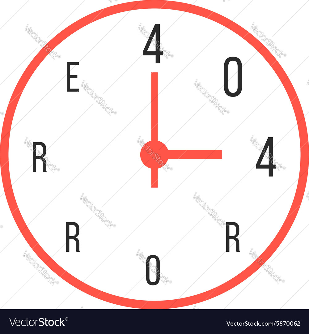 Concept of error 404 with red watches vector