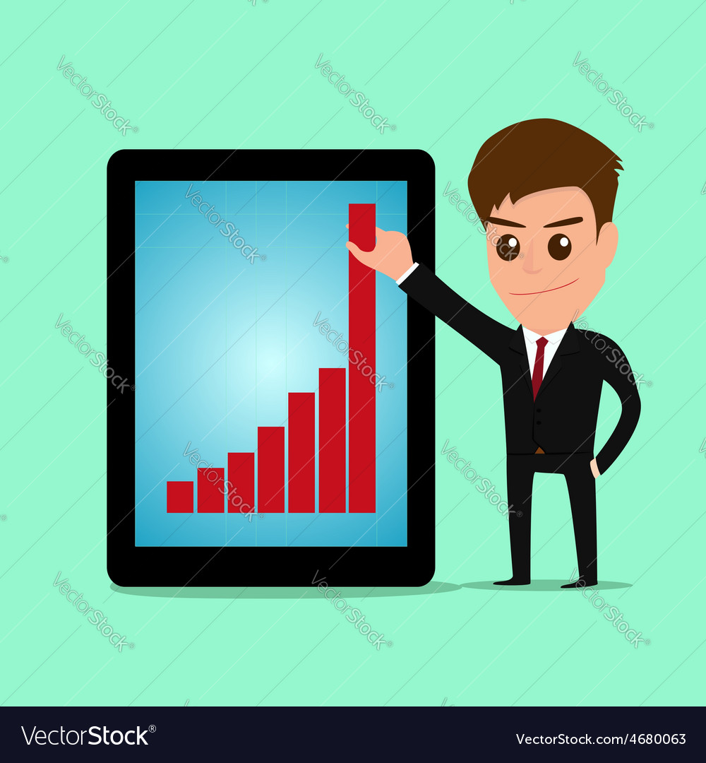 Businessman holding graph to growing up from table vector