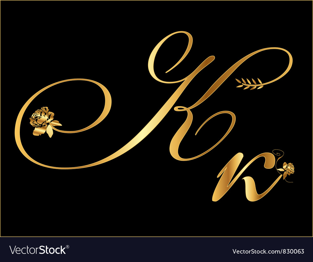 Gold letter k with roses vector