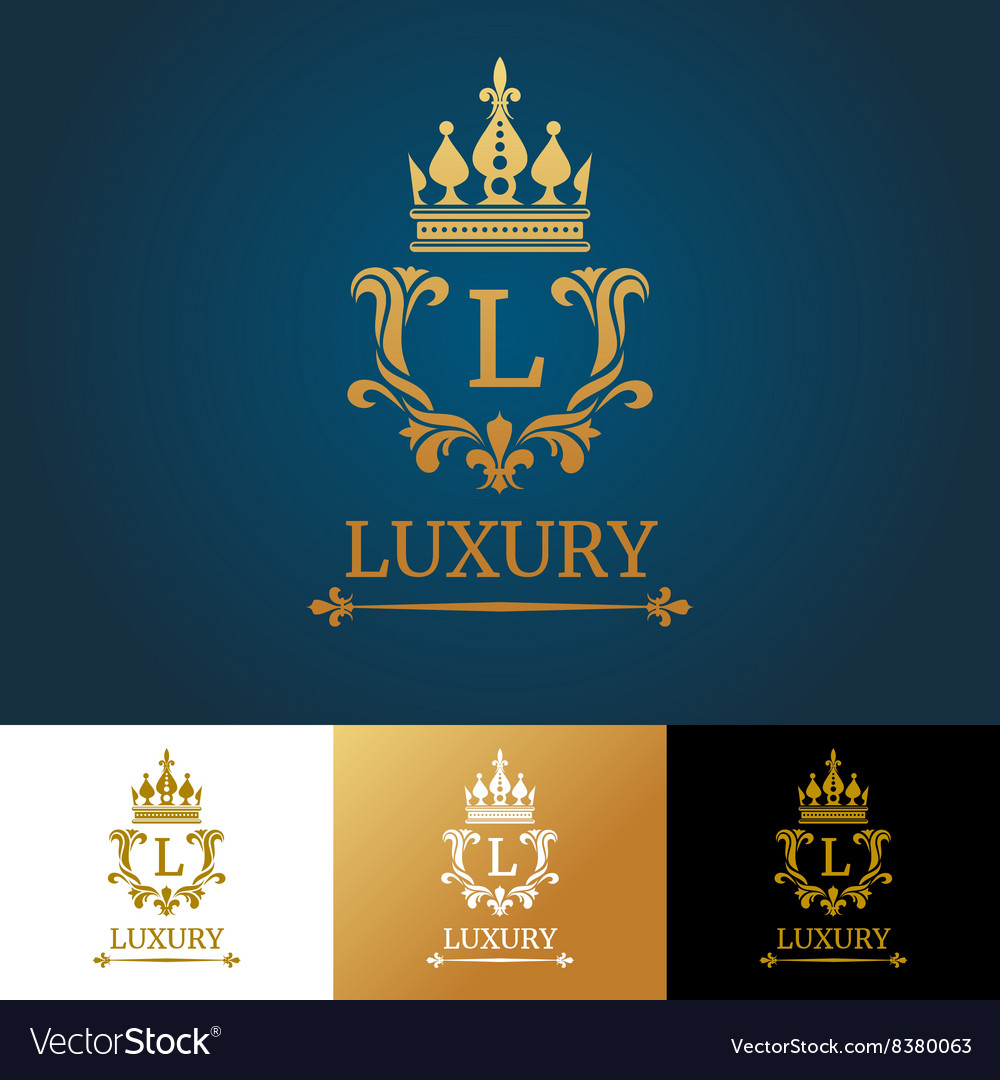 Monogram with crown royal design logo vector