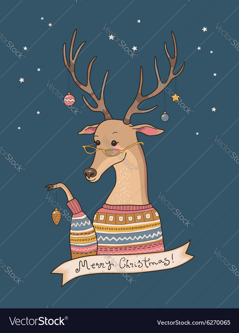 Christmas deer night vector