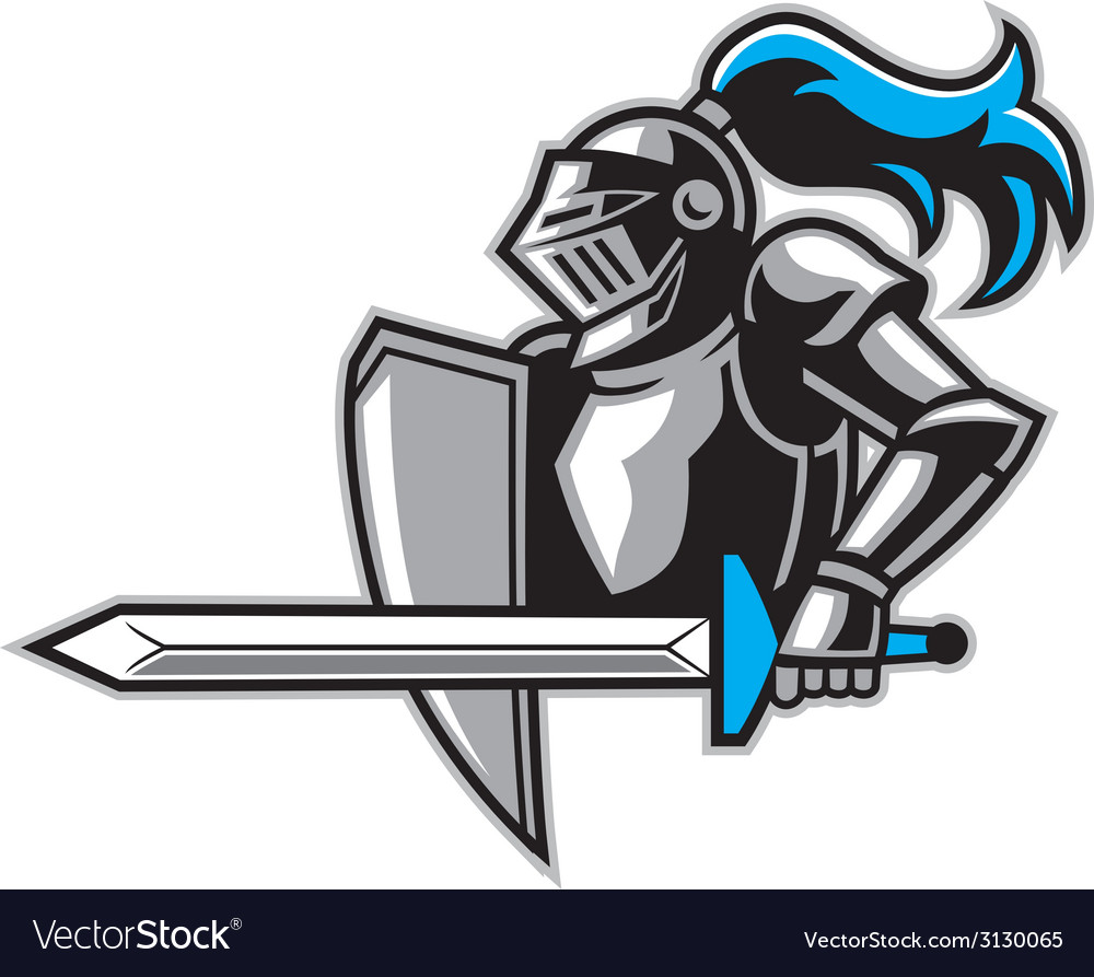 Knight with a big sword vector