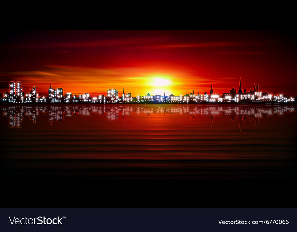 Abstract red sunset background with silhouette of vector