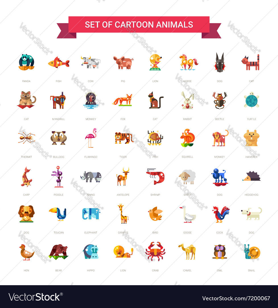 Flat design wild and domestic animals icons set vector