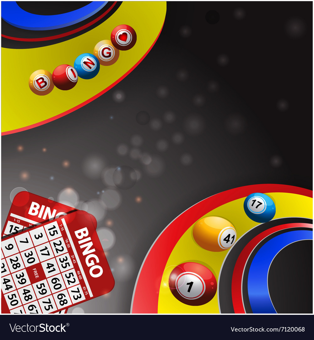 Bingo balls over multi coloured swirl and cards vector