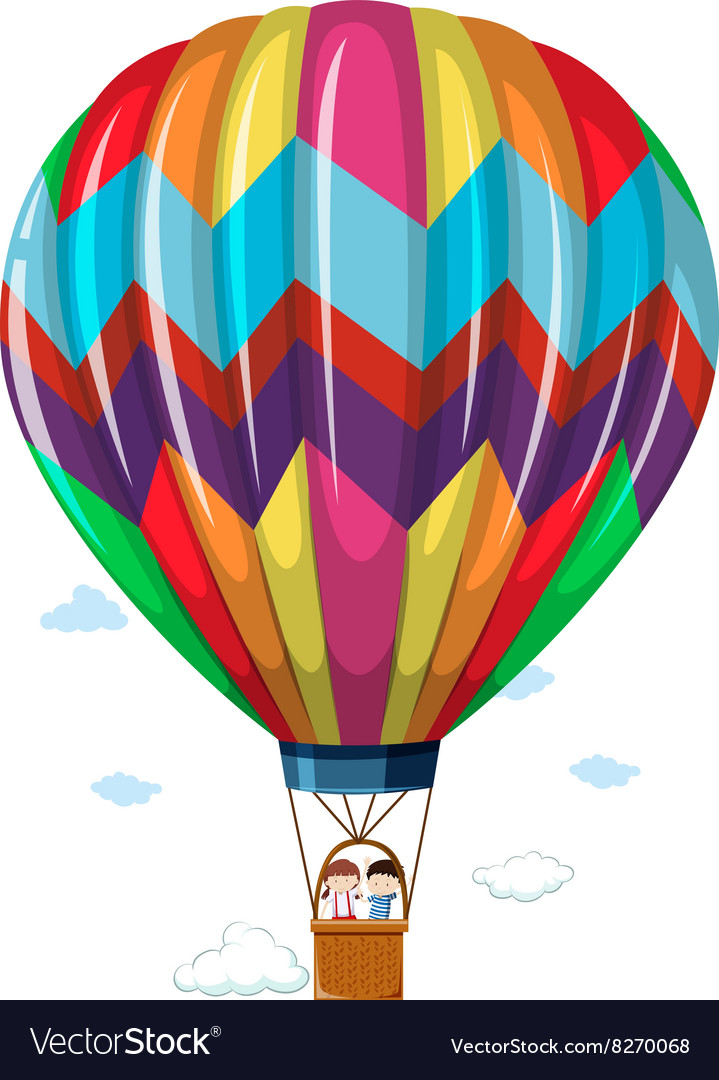Children riding in the hotair balloon vector