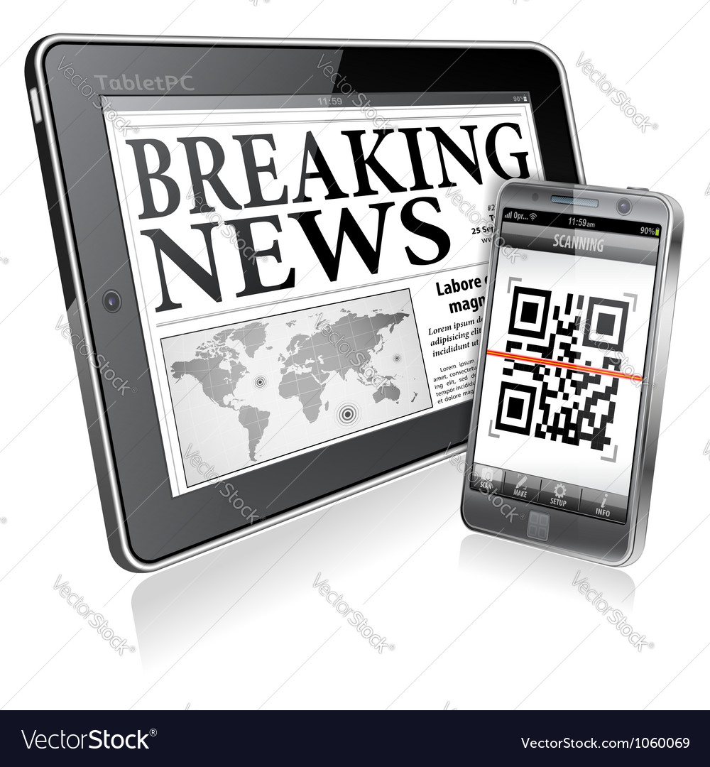 Concept  digital news on tablet pc and smartphone vector