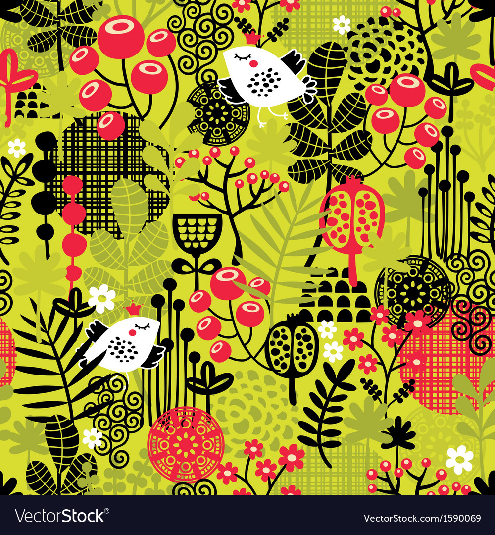 Seamless pattern with bird in the forest vector