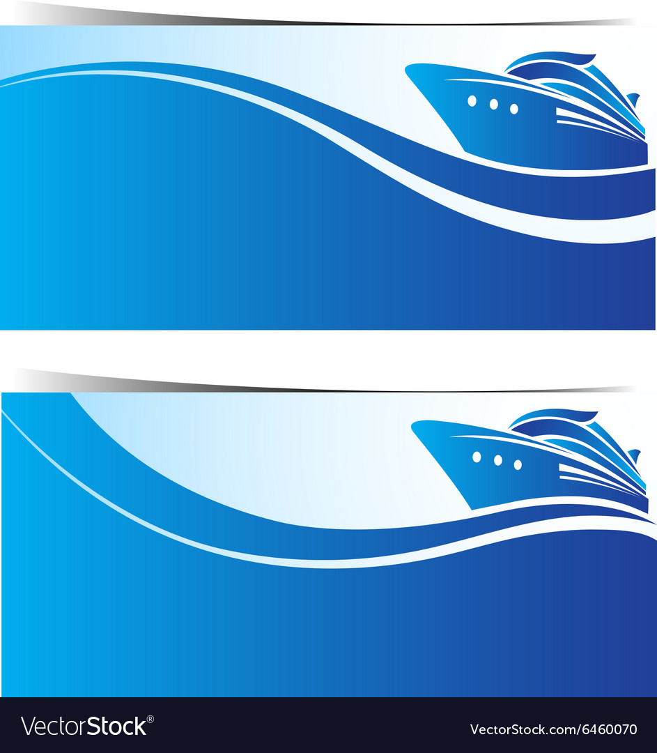 Cruise ship banner2 vector