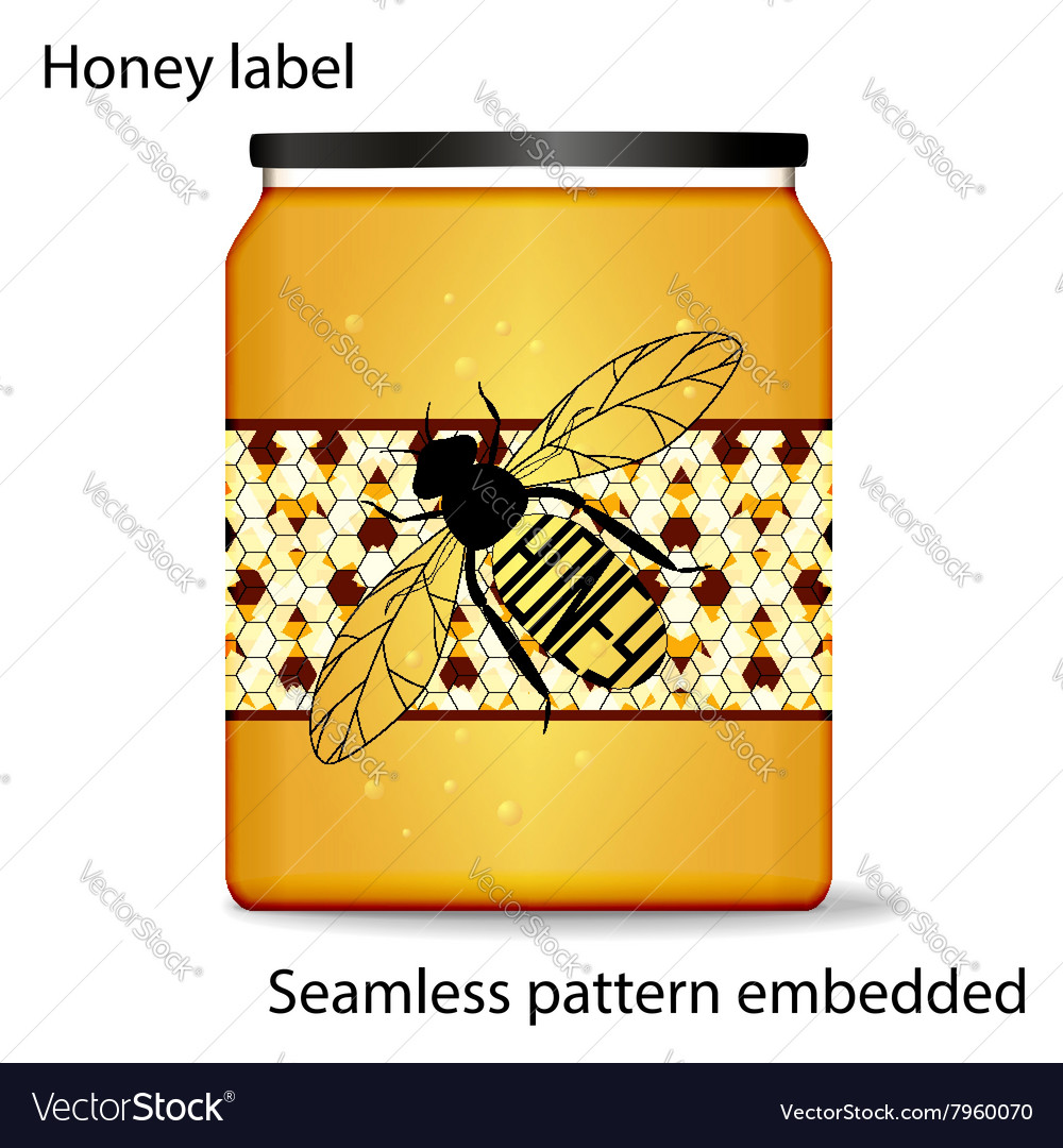 Label on honey the bee with vector