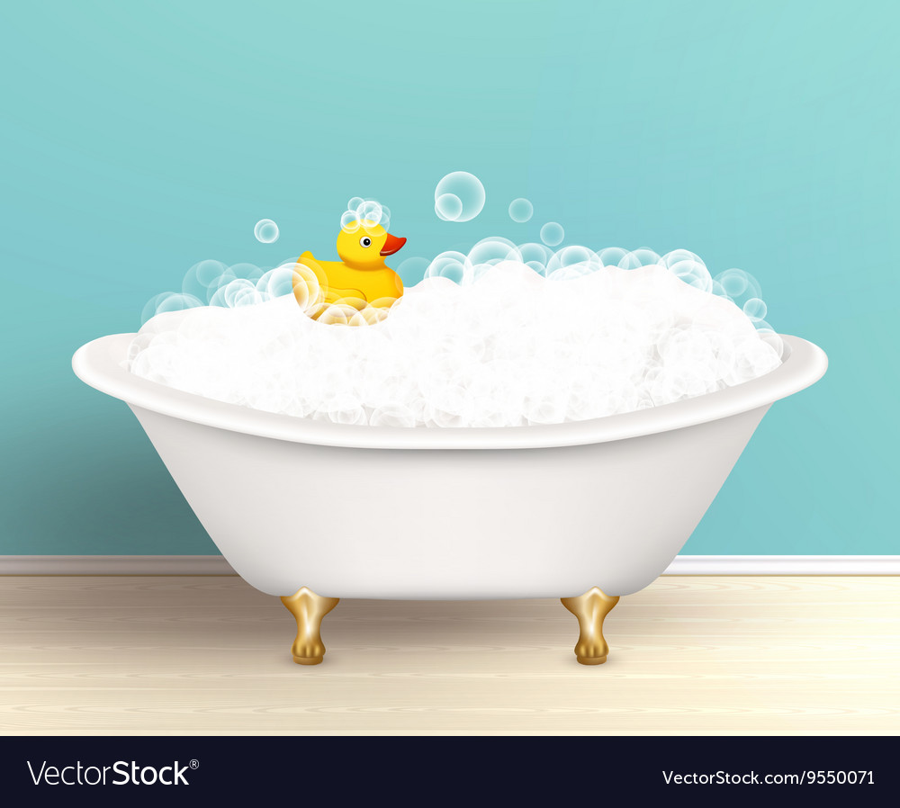 Bathtub with foam poster vector