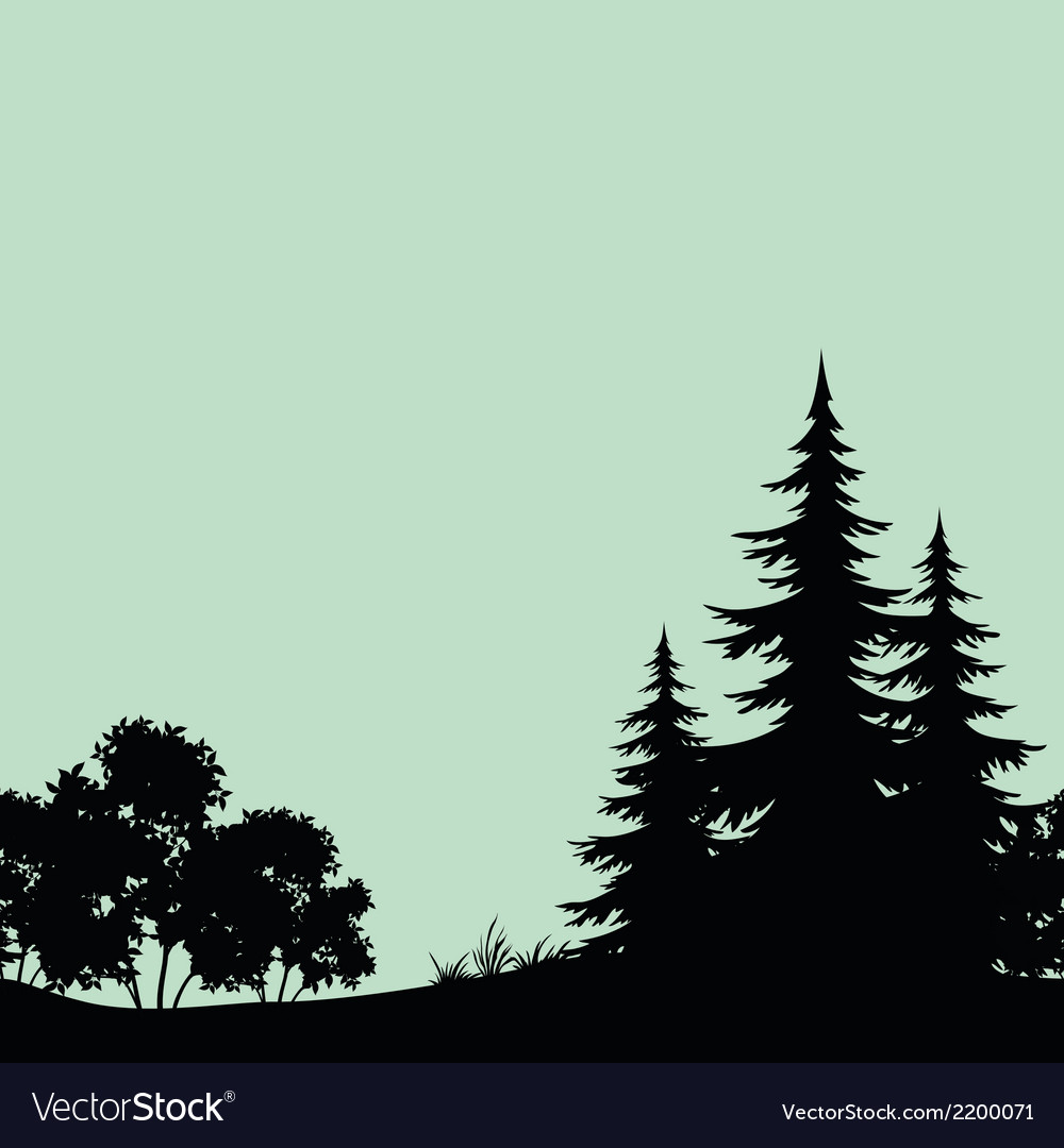 Seamless landscape night forest silhouettes vector