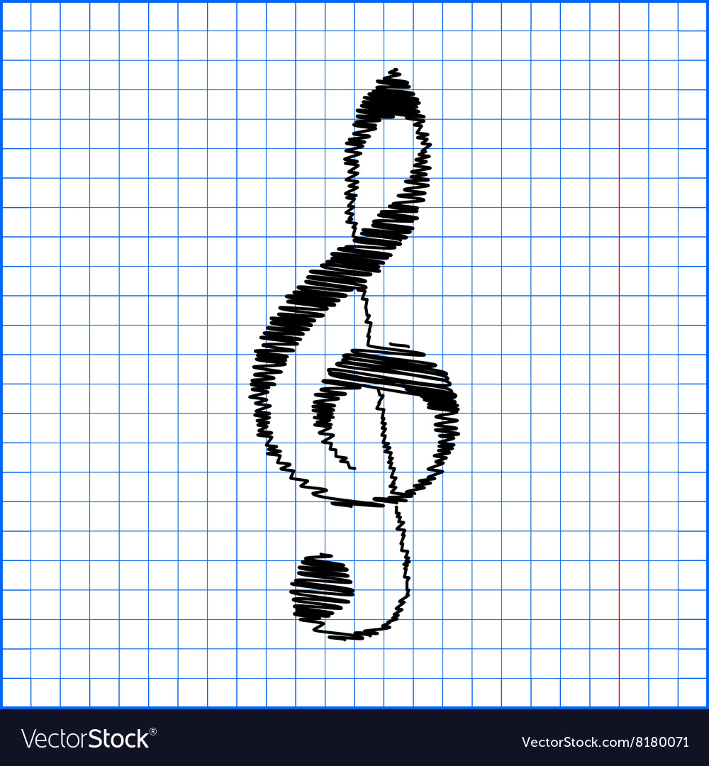 Violin clef with pen effect on paper vector