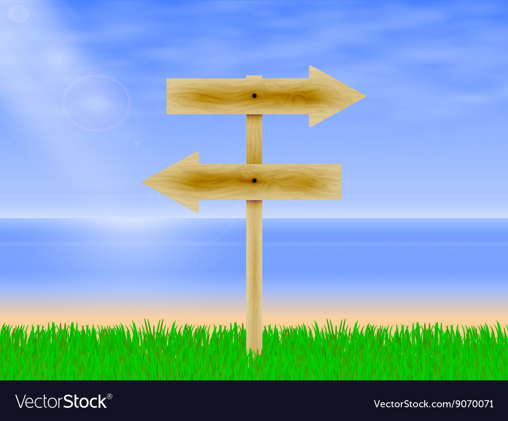 Wooden board with a direction vector