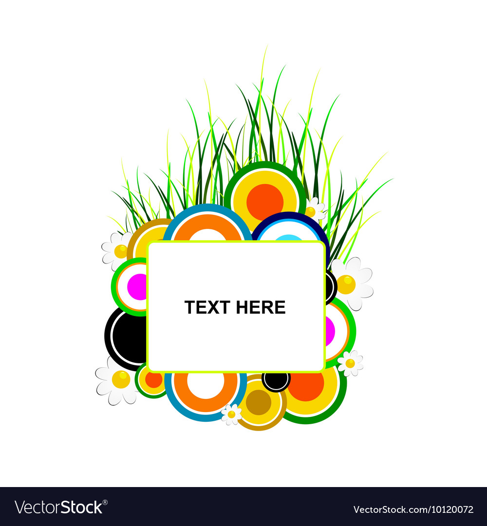 Circle and grass with banner text vector
