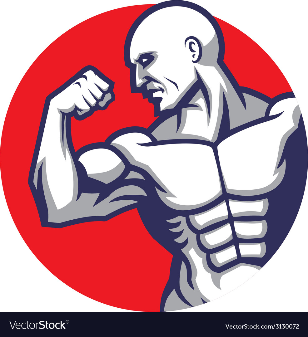 Muscle man pose vector
