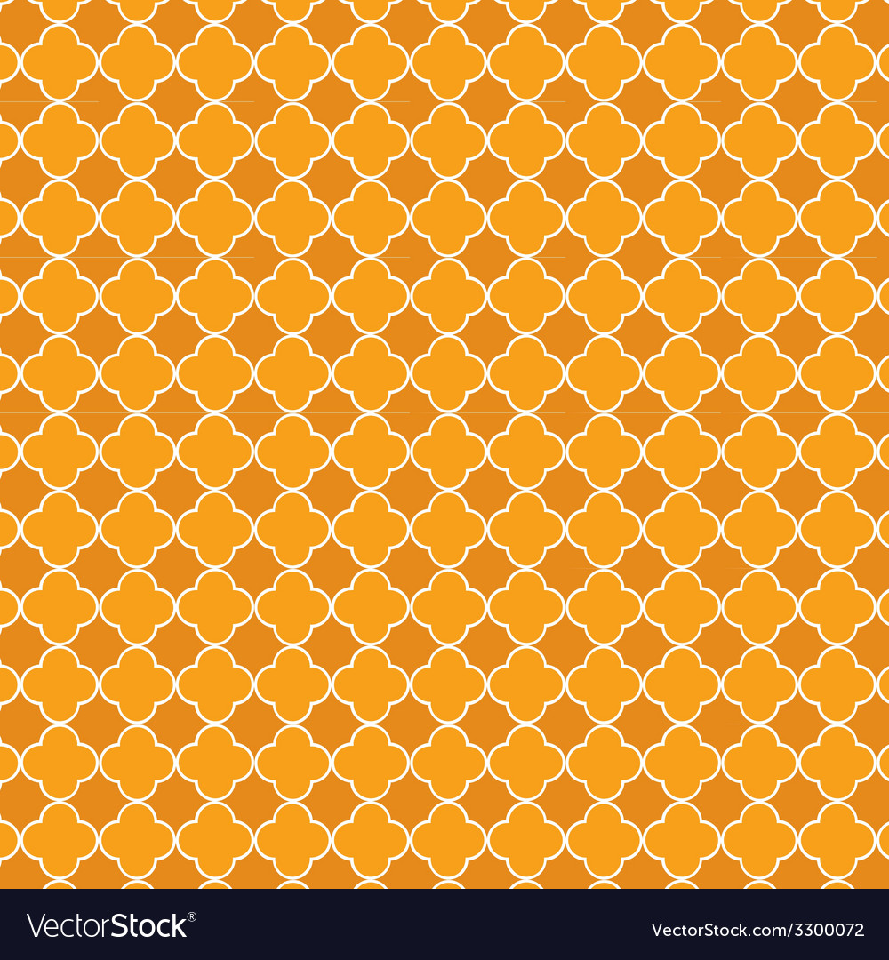 Quatrefoil orange vector