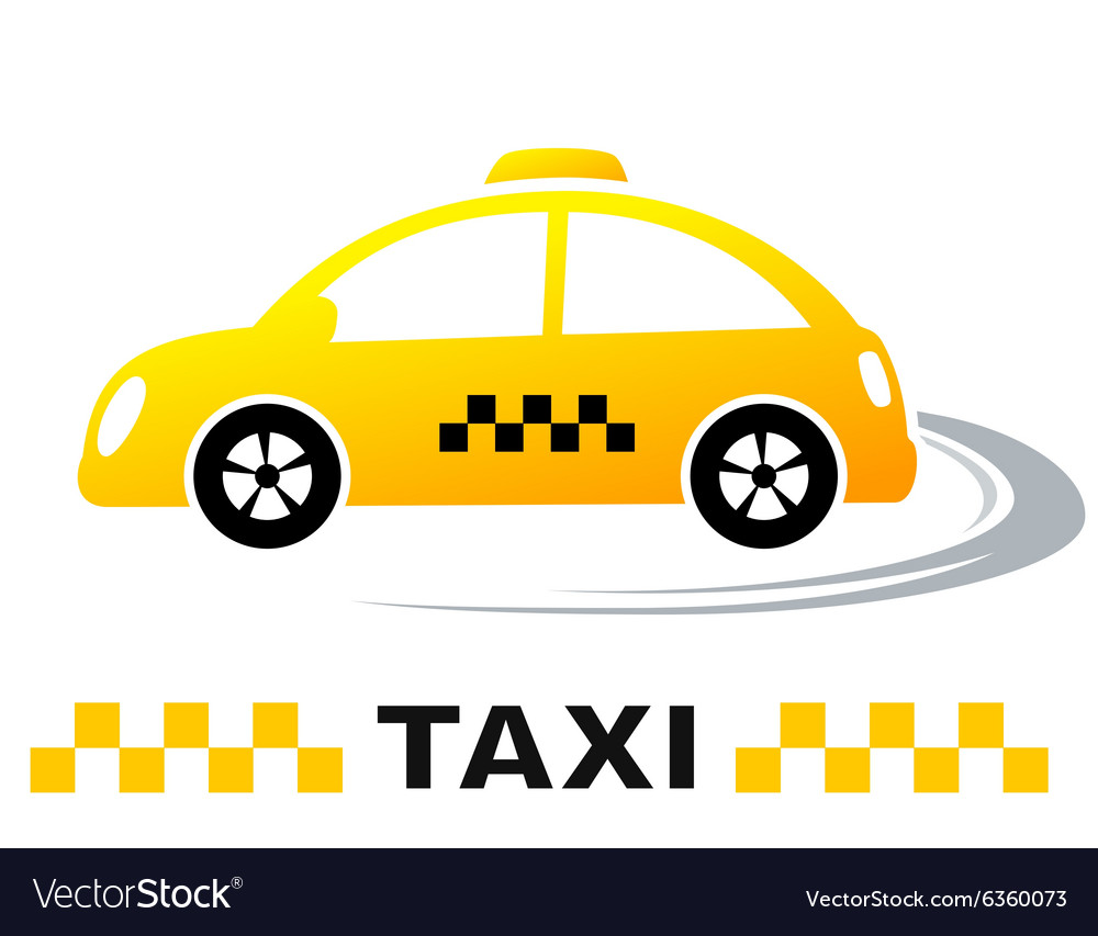 Fast cartoon taxi car vector