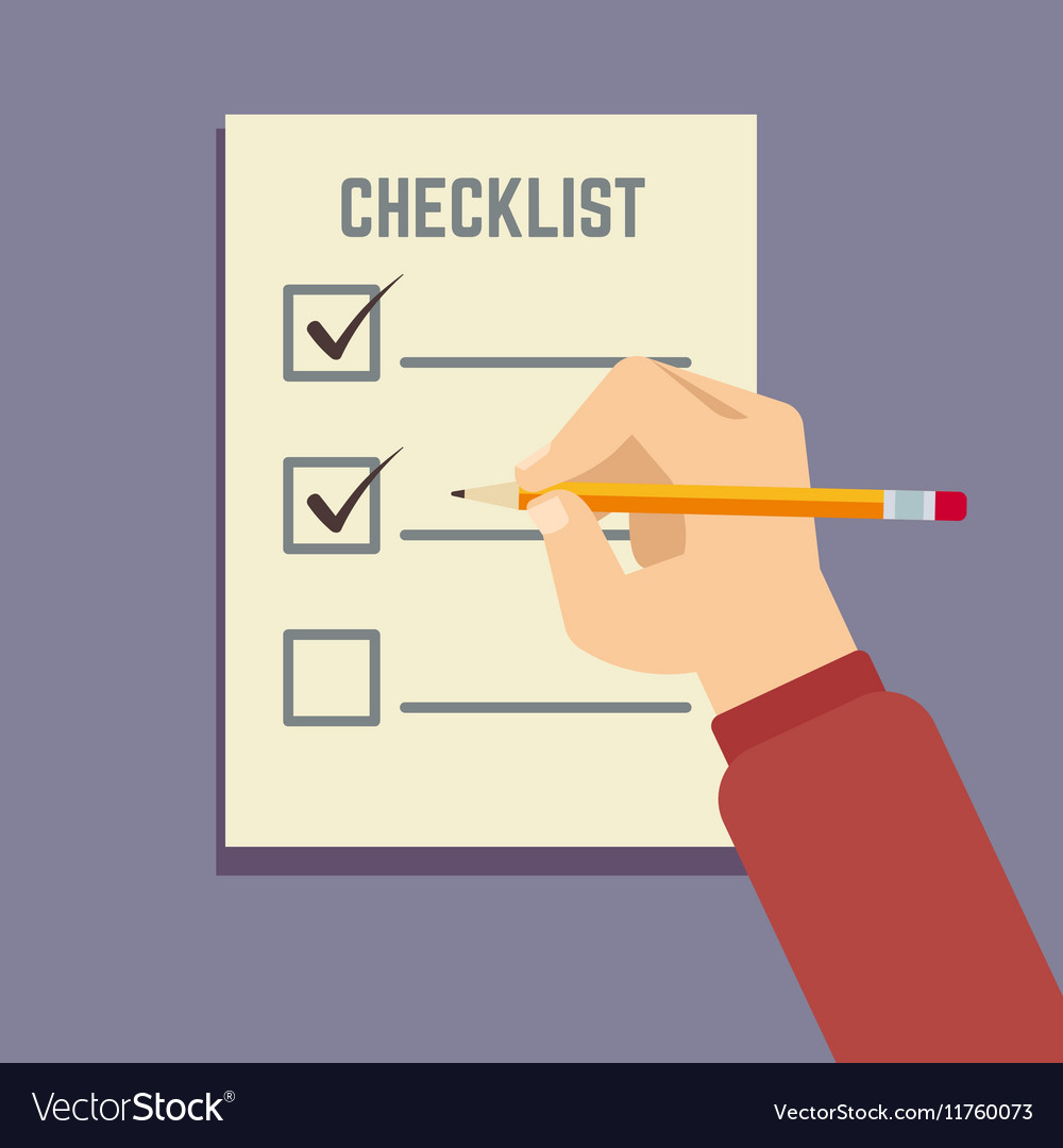 Hand holding pencil with clipboard checklist flat vector