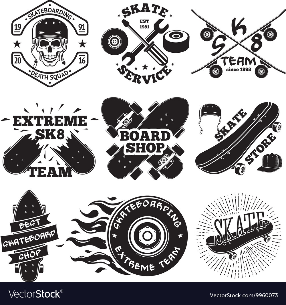 Set of skateboarding labels  skull in helmet vector