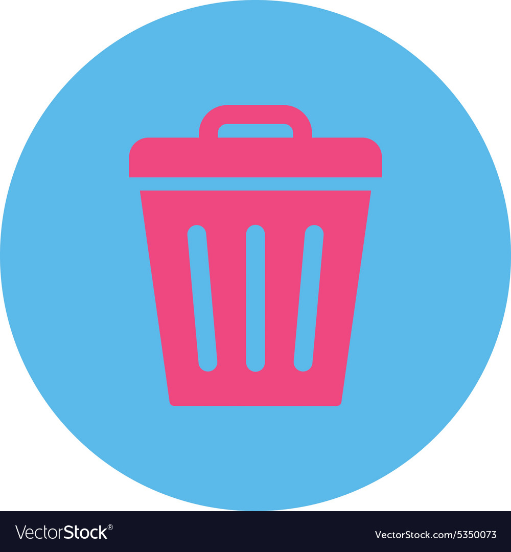 Trash can flat pink and blue colors round button vector