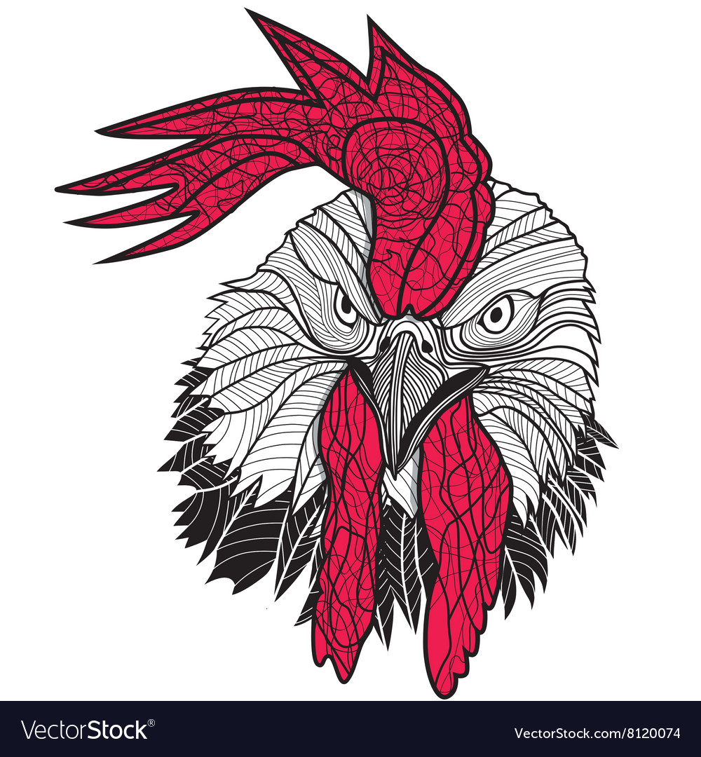 Chicken rooster head design for tshirts isolated vector