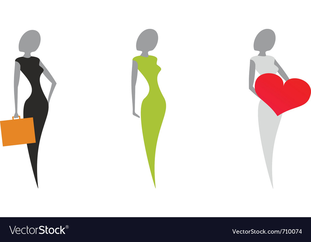 Stylized silhouettes of women vector