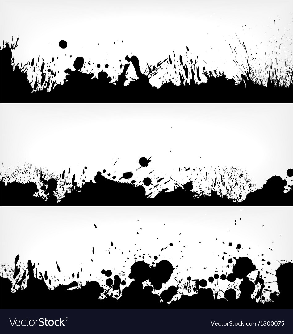 Grunge ink splash banners vector
