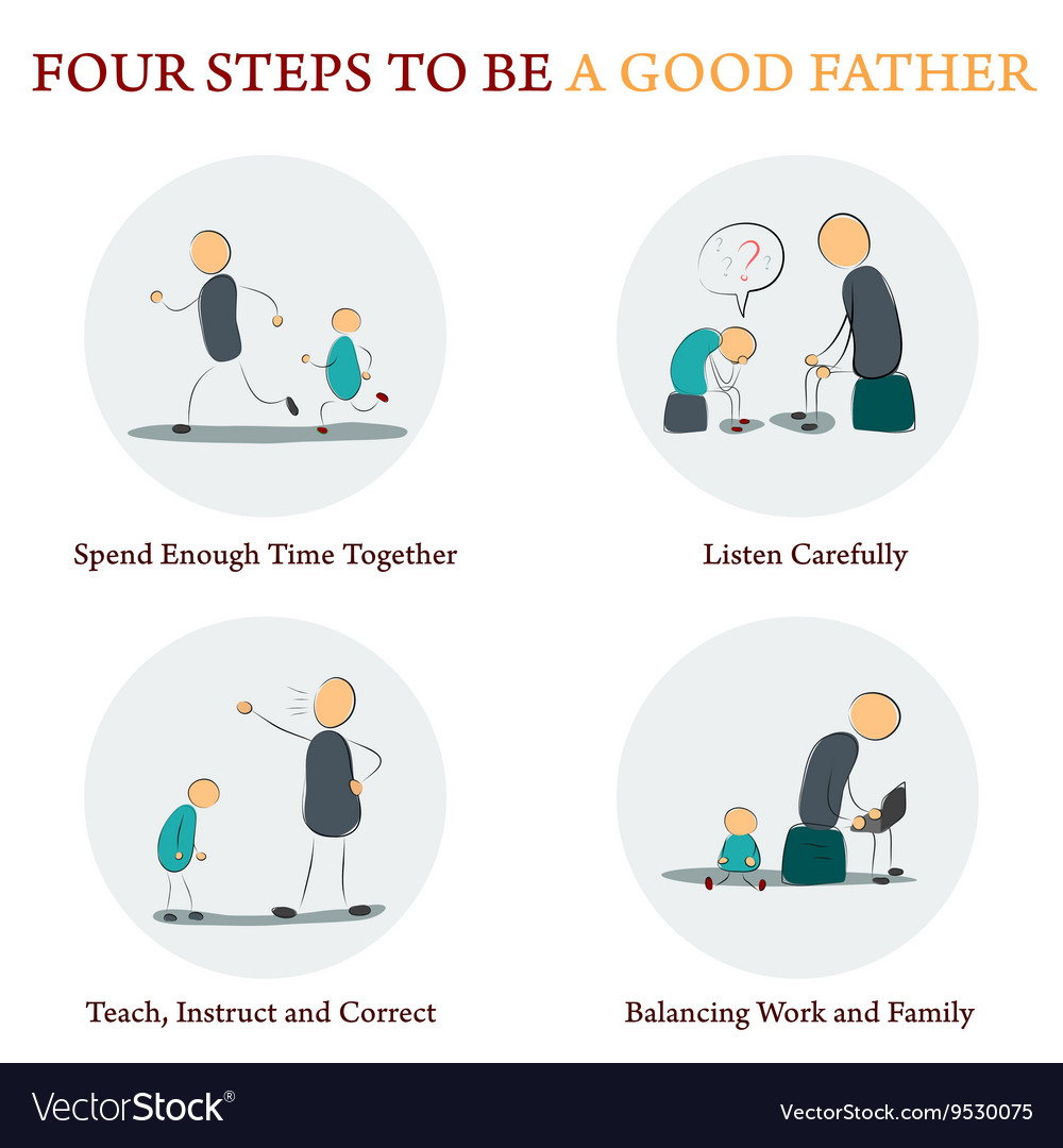 Infographics  four steps to be a good father vector