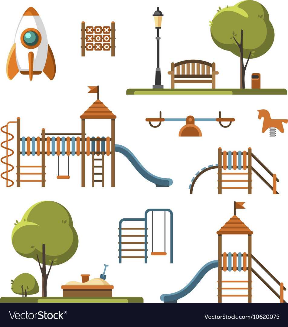 Kids playground city park set vector