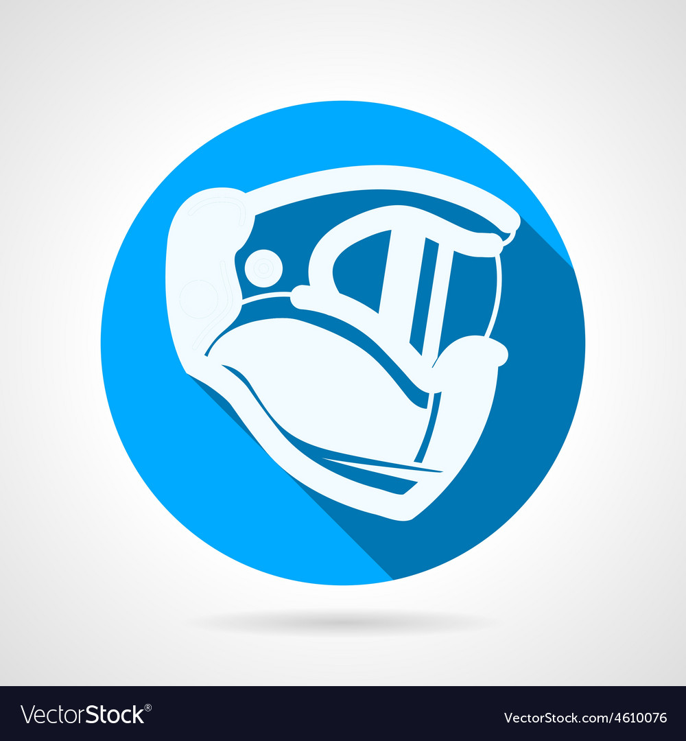 Blue flat icon for paintball helmet vector