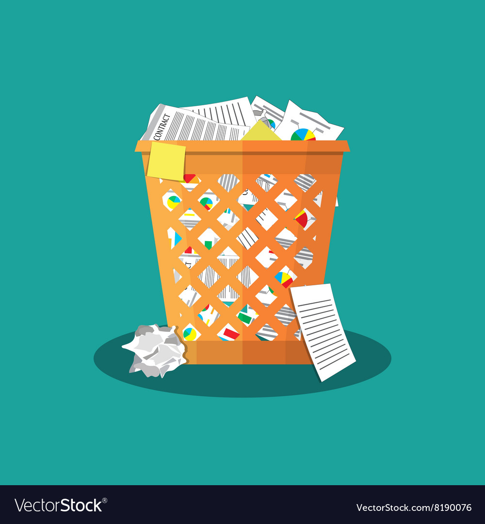 Trash recycle bin garbage vector