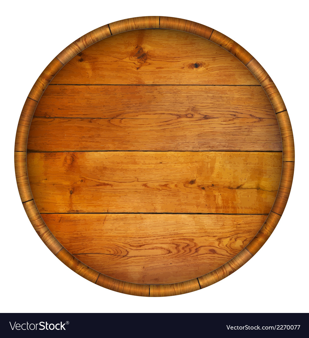 Round wooden barrel background vector