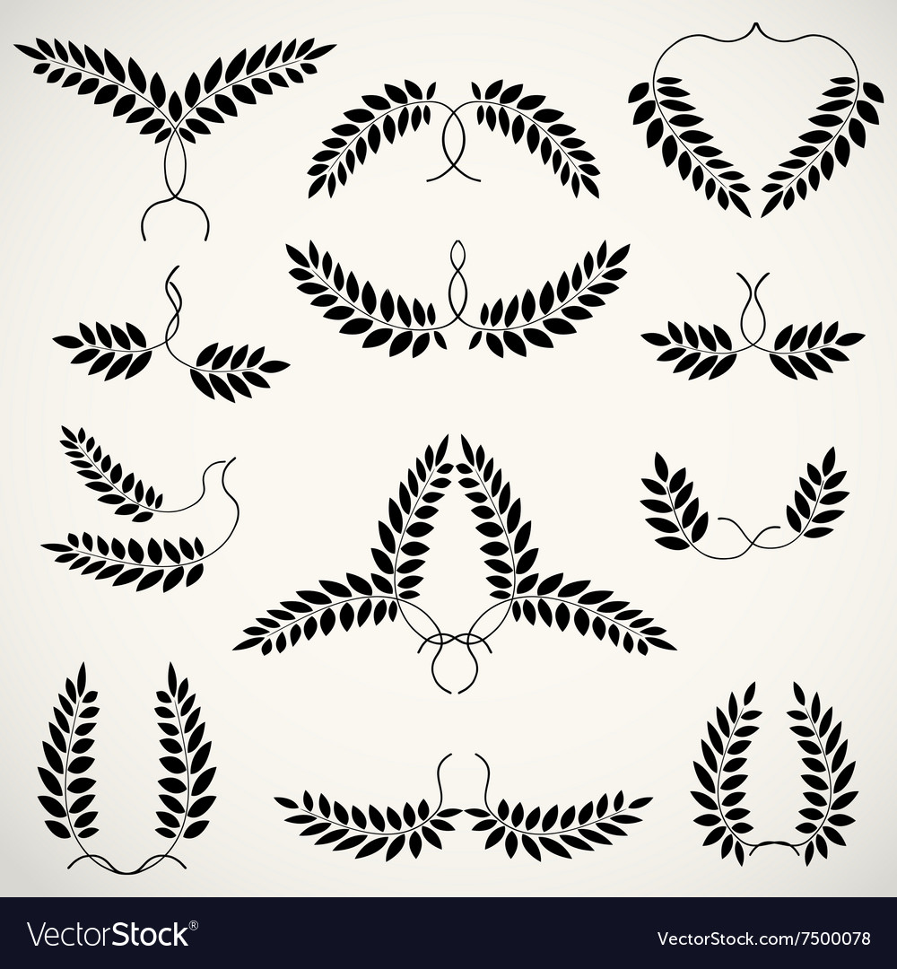 Laurel wreath tattoo set heart wings erotic vector
