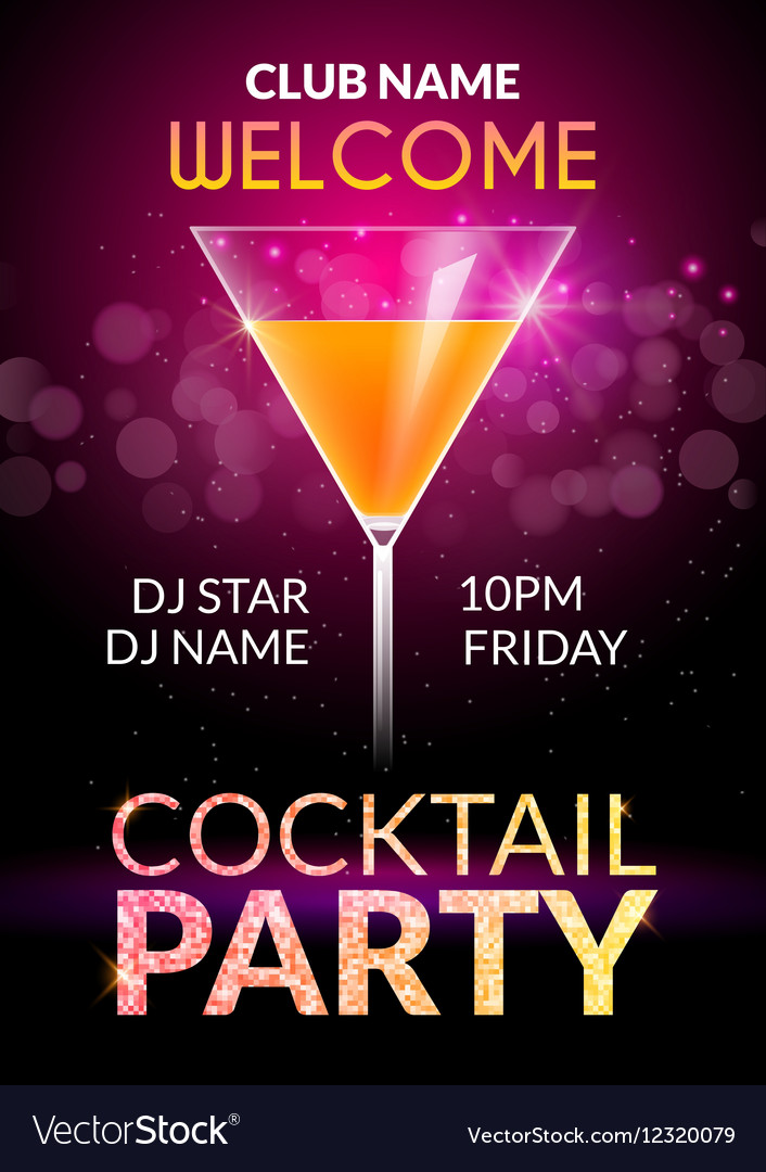 Cocktail invitation design poster cocktail party vector