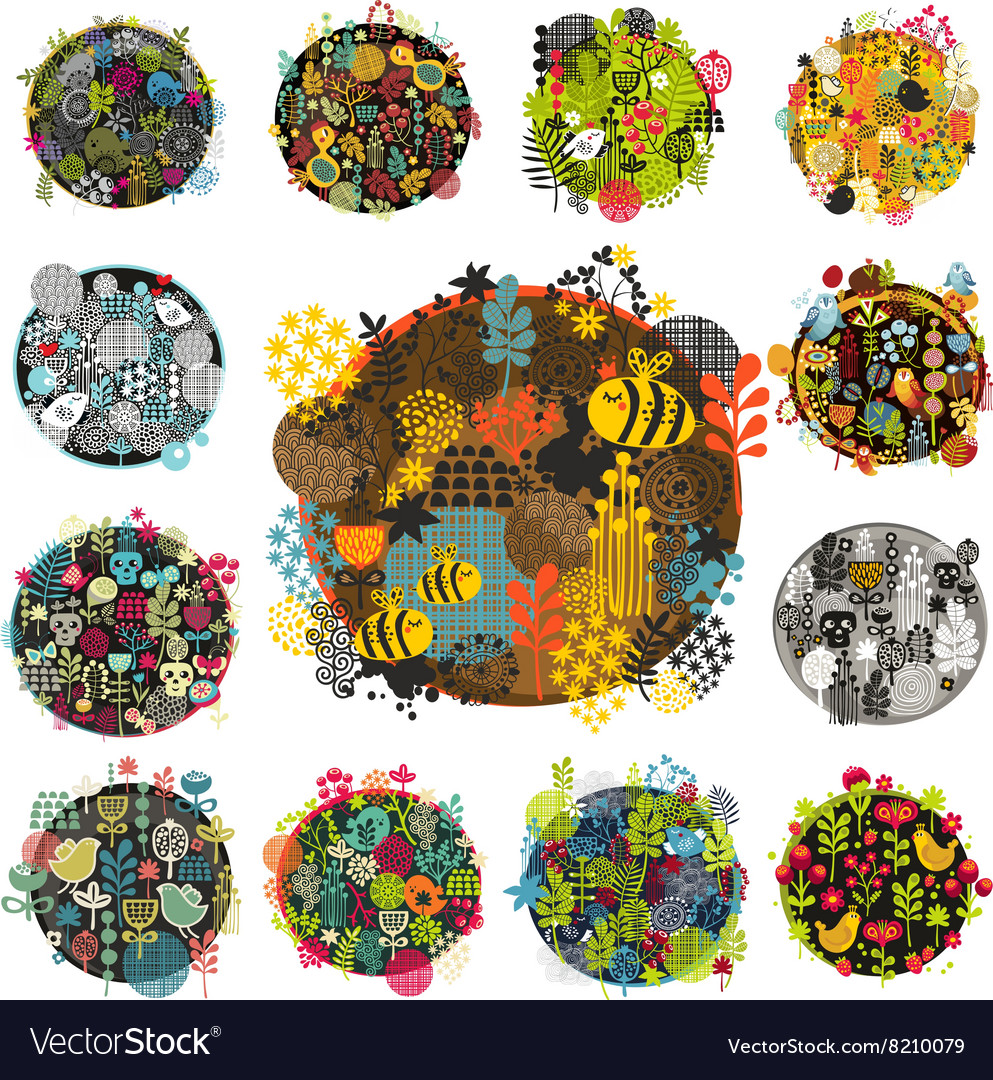 Creative round print with floral elements vector