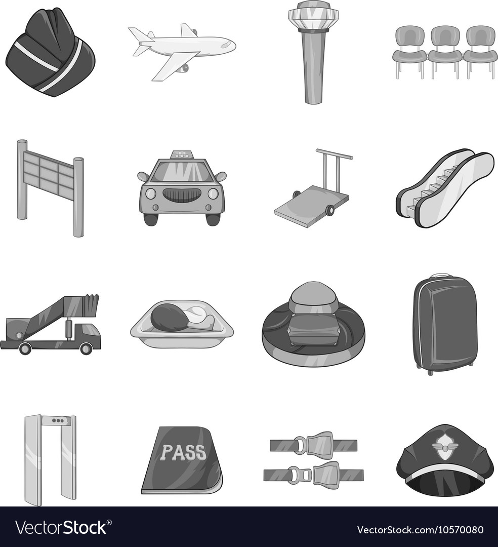 Airport icons set black monochrome style vector