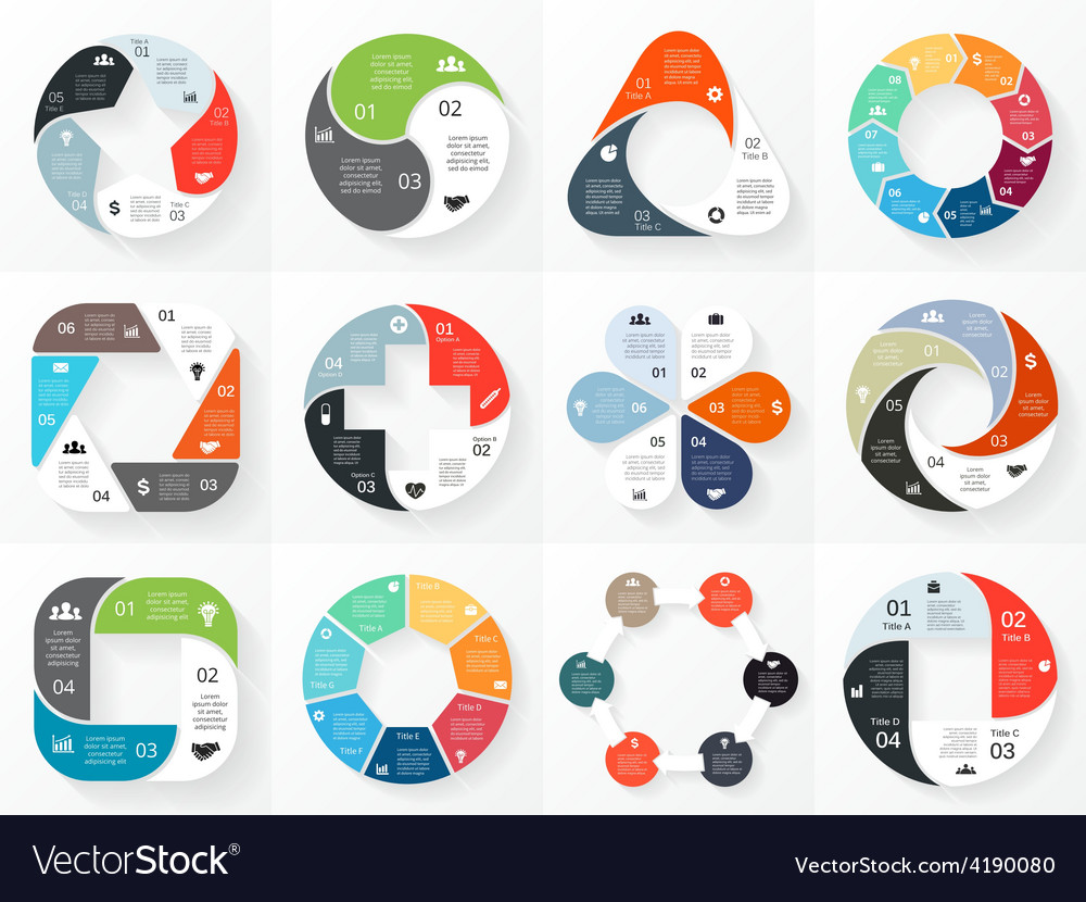 Circle arrows infographics set template vector