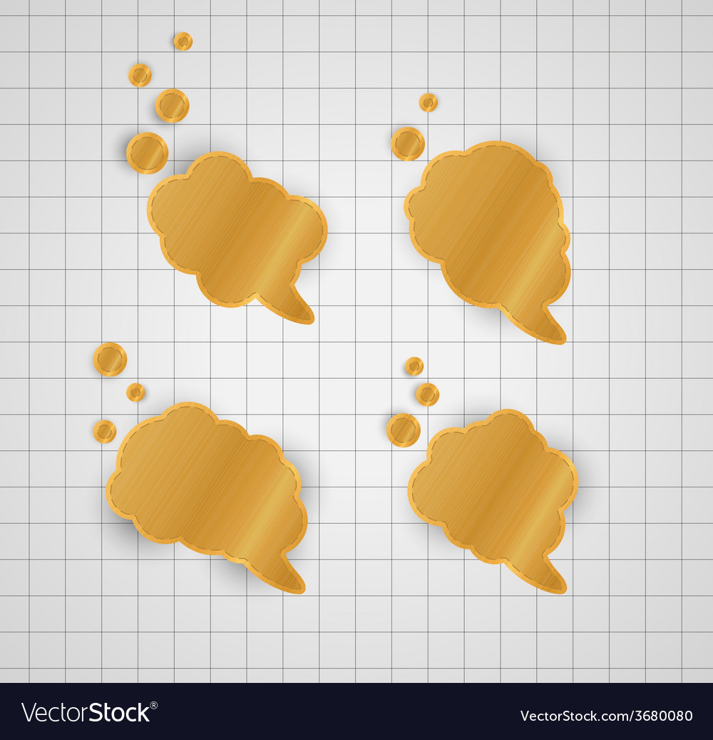 Four gold speak bubbles vector