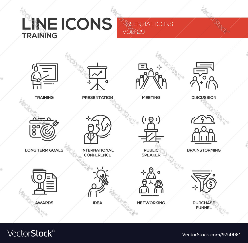 Business training  line design icons set vector