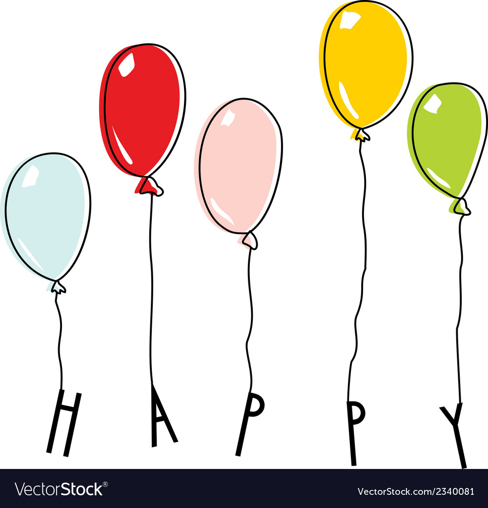 Drawn balloons with lettering happy vector