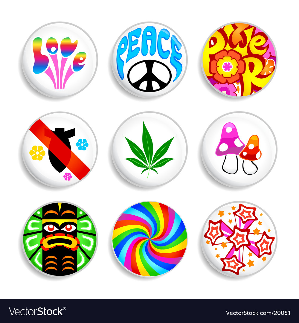 Hippie badges vector