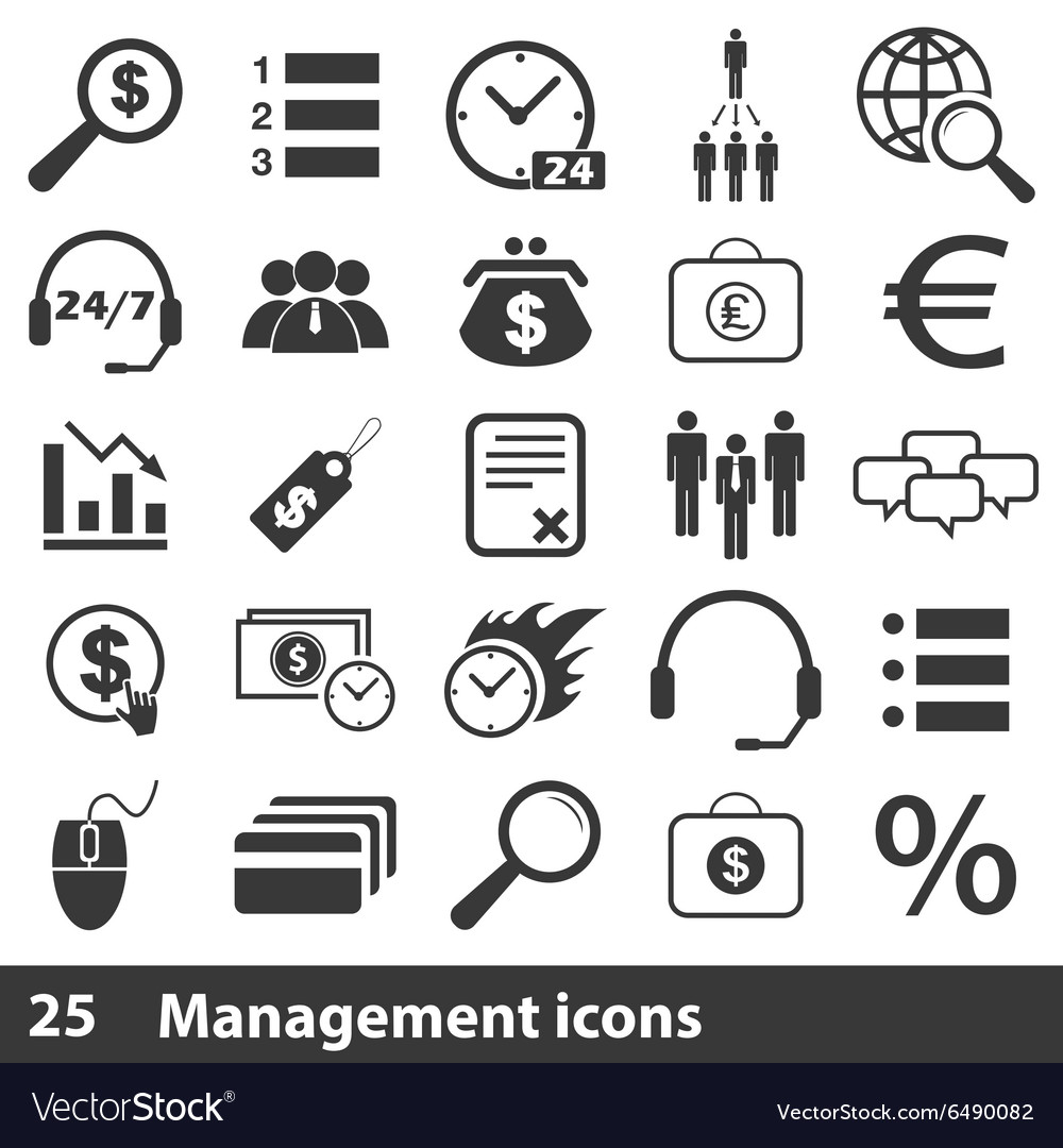 25 management simple icons set vector