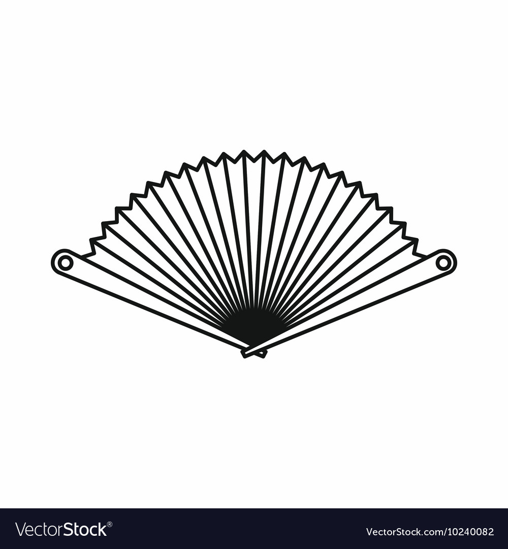 Opened oriental fan icon outline style vector
